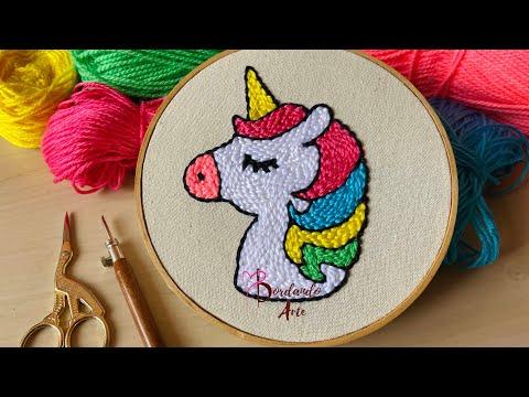 Bordar unicornio con aguja mágica y estambres