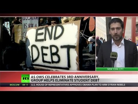 """student - Occupy Wall Street's """"Strike Debt"""" campaign on Wednesday announced it had bought and then forgiven nearly $4 million in student debt since January. Buying existing loans from creditors..."""