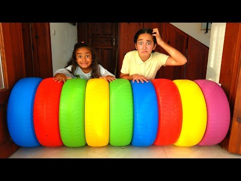 Esma And Asya Pretend Play With Toy Wheel And  Hide & Seek Fun Kid Video