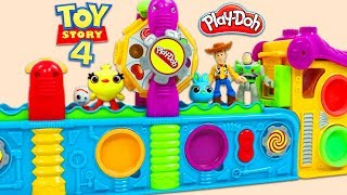 Disney Pixar Toy Story 4 Friends Visit the Play Doh Mega Fun Factory Playset for Surprise Toys!