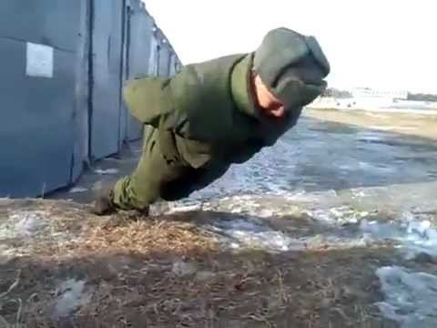 Russian Soldier Performs No-Hands Push Ups