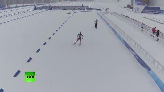 Беспилотник заснял соревнования по биатлону на III Всемирных военных играх в Сочи