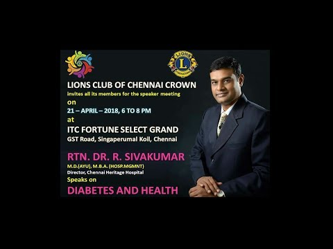 Dr.R.Sivakumar M.D.(Ayurveda) Speech On Diabetes And Health