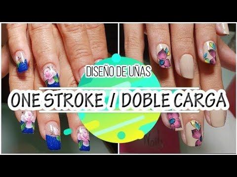 Diseños de uñas - Diseño de uñas one stroke   flor doble carga