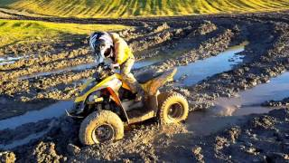 1. Canam DS 90 Bean Vires mudding Jan 31 2016