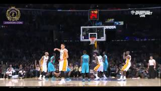 "Jeremy Lin clutch 3 pt shot plus his trademark ""lets go pose""."