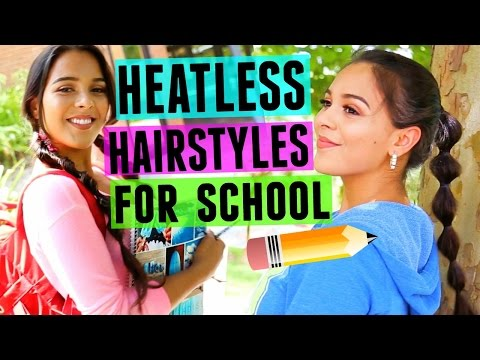4 Fast & Fun Heatless Hairstyles for Back to School! NataliesOutlet (видео)