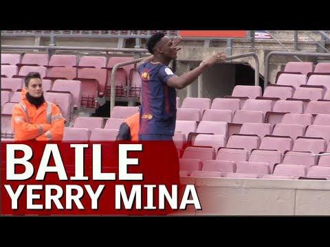 El baile de Yerry Mina en el Camp Nou  Diario AS