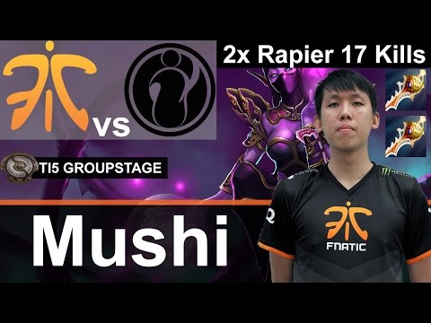 Fnatic Mushi plays TA [2x Rapier 17kills vs Team IG] Dota 2 [TI5 GROUP]