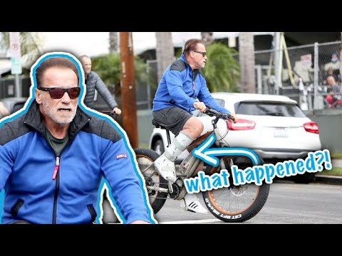 Arnold Schwarzenegger Sports An Aircast After Suffering Foot Injury