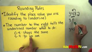 Math Video on The Rules For Rounding Numbers. http://www.kidsmathtv.com/videos-by-level/ . This tutorial works for children in  3rd & 4th Grade. Learn to learn up or round off numbers. This video tutorial will work as a homeschool supplement or a tool for reinforcing the concept while in the classroom. Children simply need to watch and pause at different stages. For more practice, visit the link indicated above.