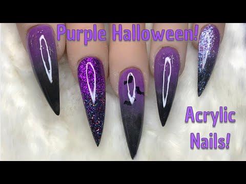 Purple Halloween Nails  Acrylic Nails  Nail Sugar