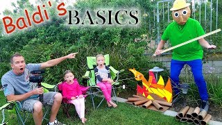 Camping With Baldi's Basics in Real Life!! 24 Hour Overnight Challenge!!!