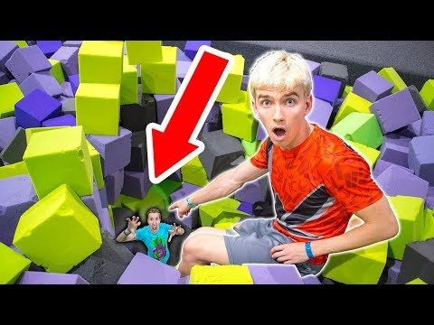 HE WAS HIDING AT THE TRAMPOLINE PARK!! (видео)