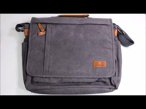 Estarer 17-Inch Laptop Canvas & Leather Messenger Bag Review!