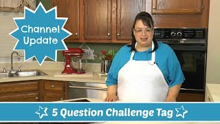 "Join Amy for the 5 Question Tag and a Channel Update! 1.Which 3 YouTubers inspire you the most?2.What 3 things are you good at?3.What 3 things are you excited about?4.What 3 things do I like to do to relax?5.Tag 5 YouTubers!Thanks for the tag Doug!Cooking with Doug:  https://www.youtube.com/user/COOKINGWITHDOUGAmy Learns to Cook Facebook Page:  https://www.facebook.com/groups/506098369436101/YouTubers that inspire me: Tony & Chelsea Northrup:  https://www.youtube.com/user/VistaCluesDale Calder: https://www.youtube.com/user/dalecalder2003Roberto Blake: https://www.youtube.com/user/robertoblake2 I am tagging the following YouTubers:Eric Learns to Cook: https://www.youtube.com/channel/UCCk4_mCN6fgaRuzc3uZLKRAHillbilly Kitchen: https://www.youtube.com/channel/UC547XA_zfSXKLaqe-GAiXCgSoulfulT: https://www.youtube.com/channel/UCKWfAw4KlhkIgLvpX1_Nq1wKatie Cooks & Crafts: https://www.youtube.com/user/KatieCooksandCraftsJuani's House:  https://www.youtube.com/user/mrsjuaniAmy Learns to Cook is all about learning to make simple, tasty food from fresh ingredients.  One year ago, I made a commitment to stop eating processed convenience foods.  I decided to learn to cook ""real"" food. Join me!  Let's learn to cook together! Enjoy! Please share! Please SUBSCRIBE to my channel, LIKE, and leave a COMMENT.Please visit my website: www.amylearnstocook.comAny links in this description, including Amazon, are affiliate links."