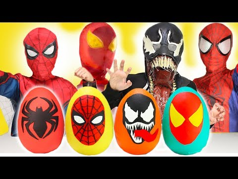 NEW Ultimate Spiderman Homecoming Play-Doh Surprise Eggs Opening Fun Toys for Kids Venom IronSpider