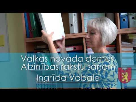 Valkas novada domes atzinības raksts - Ingrīda Vabale