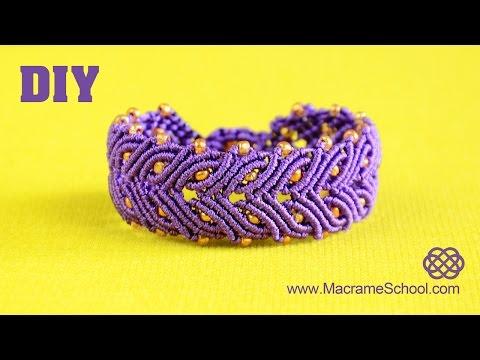 macramè - braccialetto a fascia con perline