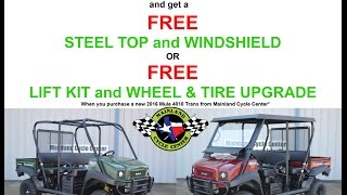 8. FREE Top and Windshield or FREE Lift and Wheel & Tire Upgrade when Buy a 2016 Mule 4010 Trans