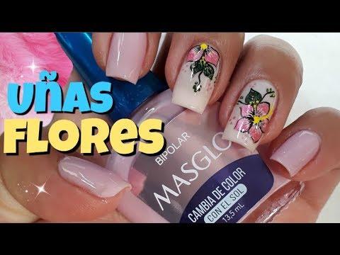 Decoracion de uñas - Uñas flores Facil/flores en uñas/diseño uñas facil