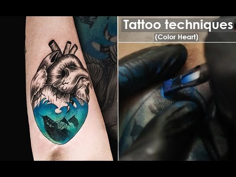 Tattoo techniques - how to line and shading - Close up process / Color Heart (Full HD Video)
