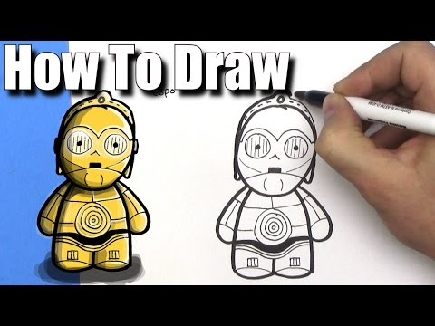 How to Draw Cute Cartoon C3P0 from Star Wars - EASY Chibi - Step By Step