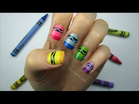 Nail - Nail art inspired by crayons?! Yup, today's nail art design is perfect for back to school! An easy nail art design that's fun and colorful. This nail art des...