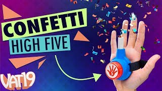 "Sometimes something so awesome happens that a regular high-five or celebratory special handshake isn't sufficient. Bring on the Confetti High Fives!Buy here: https://www.vat19.com/item/confetti-high-five-shooter?adid=youtubeSubscribe to Vat19: http://www.youtube.com/subscription_center?add_user=vat19com Follow Vat19:Facebook: https://facebook.com/vat19Instagram: https://instagram.com/vat19/Twitter: https://twitter.com/vat19SnapChat: https://www.snapchat.com/add/vat19teamShop hundreds more curiously awesome products:https://www.vat19.com/?adid=youtubeHigh fives: the time-honored way for one human being to say to another, ""hey, that was pretty cool!"" Confetti High-Fives turn this fun tradition into a spectacular celebration.To make your hand slaps more memorable, use the velcro strap to fix the plastic button to your palm and load in one of the six included confetti cartridges. Then when something awesome happens, slap some skin and watch the show. The button shoots a jet of air through the cartridge to release the confetti, giving you a colorful accent to your joint jubilation. Watch More Vat19:Latest Uploads: https://www.youtube.com/user/vat19com/videos?shelf_id=1&view=0&sort=ddPopular Videos: https://www.youtube.com/user/vat19com/videos?shelf_id=7&view=0&sort=pThe Sample Room: https://www.youtube.com/watch?v=jL1JK0U6s28&list=PLSqiExuEA-RG_aF5u4q5gEvJiUfoa6l25Fun Stuff to Eat: https://www.youtube.com/watch?v=7RXmNRr8x7I&list=PLSqiExuEA-REt5gzR0A9ernZNHlZ2glIlAbout Vat19:Vat19 is dedicated to ""curiously awesome"" gifts, candy, toys, gummy, putty, puzzles, games, and more! In addition to making funny commercials you'll actually want to watch, we produce amazing challenge videos, document our outrageous contraptions, and invite you to a front row seat for our silly stunts. Sometimes we blow things up, fill up a bathtub or pool with crazy stuff, dare each other to eat super spicy foods, and answer ""burning questions"" from our viewers."