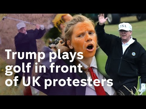 Trump's UK visit continues with a golf trip - and more protests