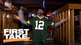 Stephen A. Smith dramatically comes into Dallas wearing Aaron Rodgers jersey | First Take | ESPN