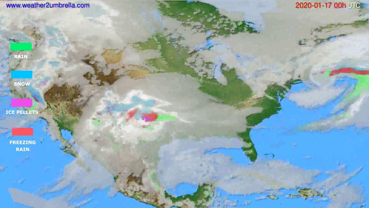 Precipitation forecast USA & Canada // modelrun: 00h UTC 2020-01-16