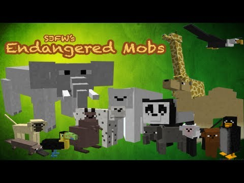 Minecraft Mods: Endangered Mobs mod - 15 NEW ANIMALS, RIDE ELEPHANTS & MORE!