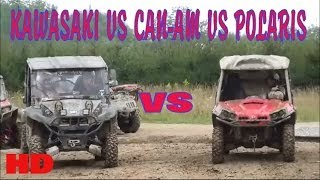 4. KAWASAKI TERYX VS CAN-AM COMMANDER VS POLARIS RZR!!! MUD BOGGING!! TALL PINES ATV PARK!!