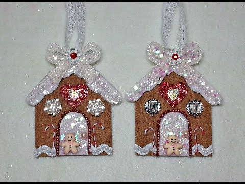 DIY~Sparkling Gingerbread House Ornament! Easy With Pattern!