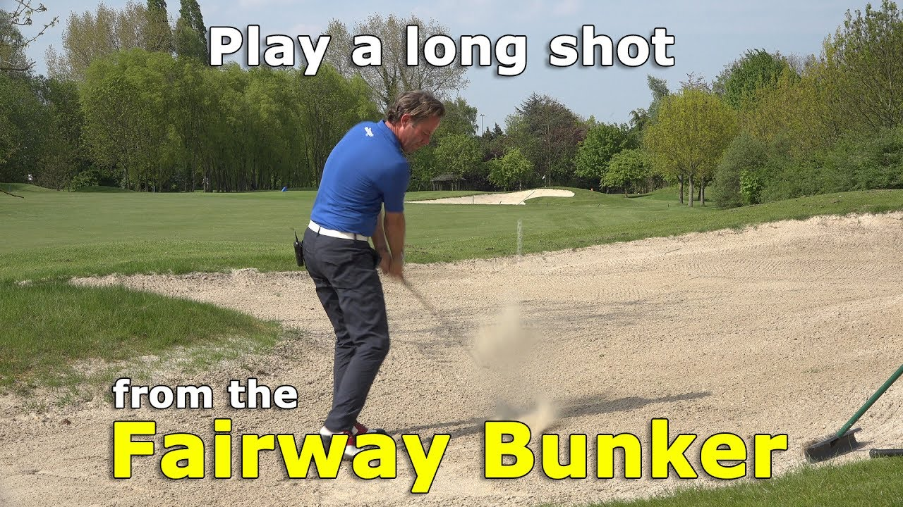 How to play a long golf shot to the green from a fairway bunker?