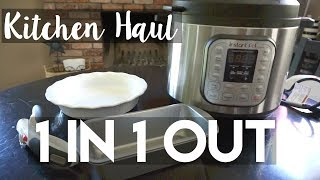 """Keep clutter away by using the """"1 in 1 out"""" rule.  Here are several new items I have for my kitchen and the items they are replacing.  I can finally sell and donate these things!1 in 1 out Birthday: https://youtu.be/vMsWdBR2RdM1 in 1 out Christmas: https://youtu.be/JibGIynTOd0My decluttering videos: https://www.youtube.com/playlist?list=PLS41szoAj99mGJJzmgiKKGf-1MIhbitaWShopping Links (affiliates):Pie Dish (Target but this is similar):http://amzn.to/2t9E1dwCan Opener (Amazon): http://amzn.to/2tkiDGpInstantPot (Amazon): http://amzn.to/2uwYo7RSheet Pan (Amazon) This is actually  HALF sheet. The set I mention at Costco include 2 half sheets (shown) and 2 quarter sheets: http://amzn.to/2tk8QjQCeramic Pans (Costco): http://amzn.to/2uwMJWCLoaf Pans: Dollar Tree------------------------------------------------------------------------------------------------✔ Ibotta app: $10 added to your refund account when you redeem your first rebate: https://ibotta.com/r/xgflatl✔ Vitacost link for $10 off your first purchase: https://goo.gl/2GfwBA✔ ThredUp link for $10 off your first purchase (online thrifting): http://www.thredup.com/r/QZNX3V✔ EBATES: Get $10 added to your quarterly rebate check upon your first purchase using this link: https://www.ebates.com/r/PKEELE17?eeid=28187 ------------------------------------------------------------------------------------------------ABOUT ME:I'm a stay at home mom to two girls ages 3 and 2. I like to laugh, read, keep a clutter free home and live on a budget.Subscribe: http://bit.ly/1bFm5hHInstagram: https://instagram.com/patriciakeeleThis video is not sponsored.Some of the above shopping links contain affiliates."""