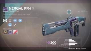 Destiny 2 Nergal PR4 Legendary Pulse Rifle Gameplay