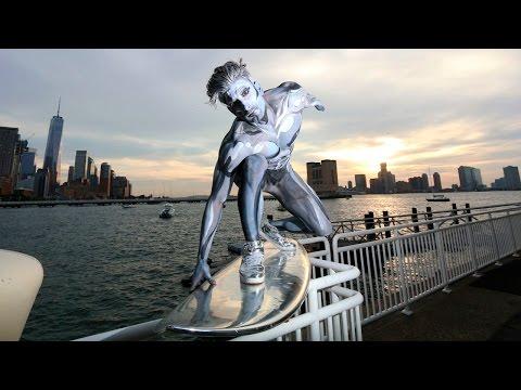 Halloween Real Life Silver Surfer Soars Through New York