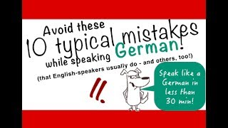 """Learn German faster and easier by avoiding 10 typical mistakes while speaking German! Learn with Examples, Exercises and English translation. Avoid these 10 typical mistakes in German! JOIN me on Patreon and get EXTRAS! https://www.patreon.com/FreeGermanLessons Diese 10 Fehler sind so typisch! VERMEIDE sie um jeden Preis!These 10 mistakes are sooo typical! AVOID them at all costs!Watch video Nr. 1: https://youtu.be/EPFlDaw42wgBoth videos can be watched independentlyGerman Mistake Nr. 10: So ≠ like this """"So"""" is a false friend, like I have pointed out in the first video.Ich mach das so! - I do it like thisGerman Mistake Nr. 9: Ich erinnere mich daran - I remember thatsich erinnern an is a difficult verb. Use it correctly!German Mistake Nr. 8: Zeit vor Ort - time before place. Typical mistake of English speakers!German Mistake Nr. 7: …. auch at the end of a sentence (...too).Doesn't work in German. Sounds weird and funny.Ich esse auch gerne Salat!Ich fahre morgen auchan die Ostsee!German Mistake Nr. 6: solch- - like thisagain about the word """"so"""". This time in Plural form.Ich mag solche Menschen nichtI don't like such people, people like this.German Mistake Nr. 5: sehr - very muchTypical mistake for beginner! """"Ich mag das sehr viel"""" -WRONG! German Mistake Nr. 4: oft ≠ sehr vielTypical mistake for beginner!Ich koche oft SpagettiGerman Mistake Nr. 3: Meiner Meinung nach + Verbtypical mistake for ALL German speakers, also advancedMeiner Meinung nach ist das die Lösung!Niemand fragt Lena nach ihrer Meinung. Denn ihrer Meinung nach sollen die Eltern nicht mehr streiten.German Mistake Nr. 2: Alle - all thesounds so funny! """"All the people"""" - """"Alle Leute"""" - no articleGerman Mistake Nr. 1: dort ⧣ dorthinIf you avoid this mistake, your German friends will love you. Seriously! It's a Wo-Wohin - problem! Ich gehe dort. DORTHIN!!Ich fahre dort. DORTHIN!!!If you have problems, watch the playlist for the two-way preposition: https://www.youtube.com/playlist?list=PLp95XyyRs28KMHf3pqzYV"""