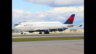 Delta 747 take off, DTW