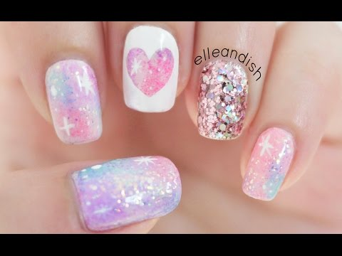 Nail - Pastel pink galaxy nail art! Sort of reminds me of a unicorn! I've wanted to do galaxy nails for a while but since it's still warm out I wanted to try out a ...