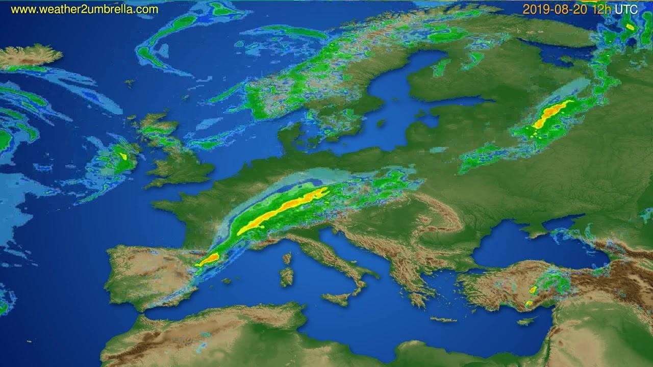 Radar forecast Europe // modelrun: 00h UTC 2019-08-20