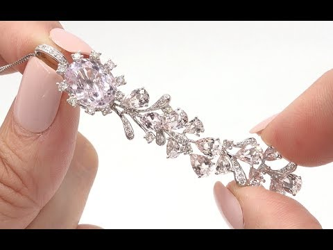 Certified 9.78 tcw IF-VVS Pink Kunzite, Morganite & Diamond Necklace Gold - C929