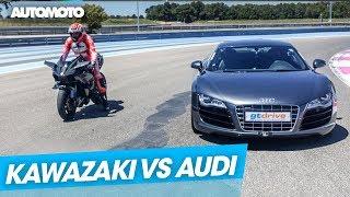Video Duel : Kawasaki Ninja H2R vs Audi R8 V10 MP3, 3GP, MP4, WEBM, AVI, FLV Juli 2018