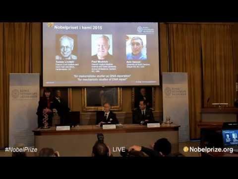 Tomas Lindahl, Paul Modrich and Aziz Sancar Awarded Nobel Prize in Chemistry for DNA Studies