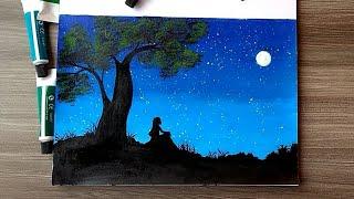 Menggambar siluet menggunakan cat akrilik
