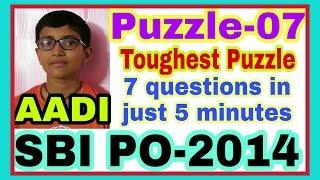 Puzzle-07: SBI PO Main-2014: Circular Sitting Arrangement: By AADI [11 years old].