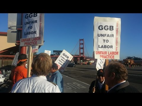 Labor Strike - Dozens of Golden Gate Bridge supported a picket line in an unfair one day labor strike against the management and board of directors of the Golden Gate Trans...