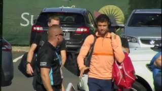 Grigor Dimitrov arriving for the final of the Brisbane International 2017 tournament.